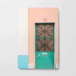 pastel green, blue & pink fifties door 14 in Lisbon, Portugal   Photo Print, Travel Photography  Metal Print
