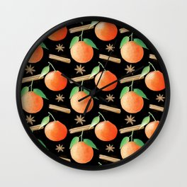 Tangerines, Cinnamon and Star Anise Watercolor Illustration and Pattern on Back Wall Clock