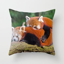 Two Super Adorable Little Red Teddy Relaxing On Tree UHD Throw Pillow