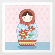 Matryoshka Doll (red & blue) Art Print
