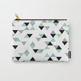 Triangles Mint Grey Carry-All Pouch