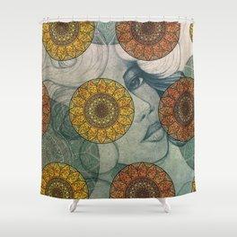 Mandala and Girl Design Shower Curtain