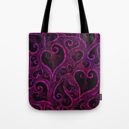 Tendrils of Love xoxo Pink and purple Tote Bag