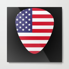 USA Flag Guitar Plectrum Metal Print
