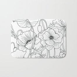 Poppies Line Drawing Bath Mat