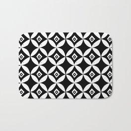 Linocut minimal scandinavian stars circles geometric black and white pattern Bath Mat