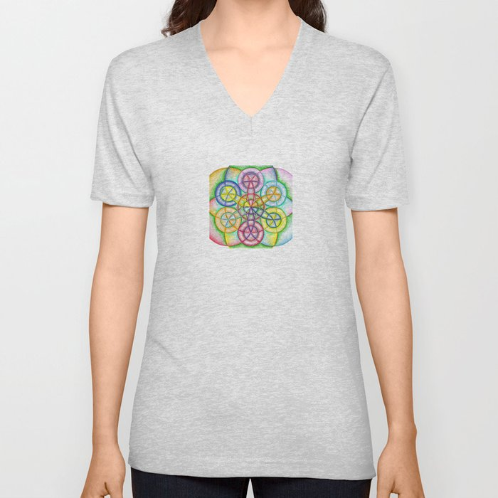 Fundamental Patterns of the Universe - The Rainbow Tribe Collection Unisex V-Neck