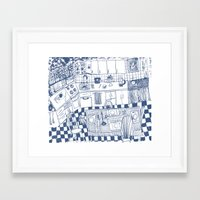 kitchen Framed Art Prints featuring Kitchen by The Printed Peanut