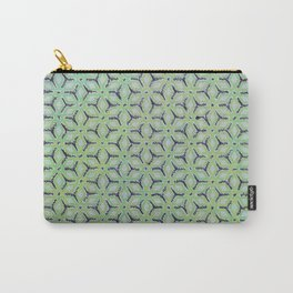 Geometric Florals Green Carry-All Pouch