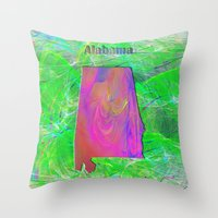 alabama Throw Pillows featuring Alabama Map by Roger Wedegis