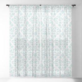 Scroll Damask Lg Pattern Duck Egg Blue on White Sheer Curtain