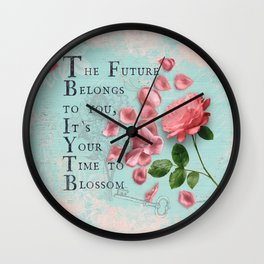 Future- Quote with Rose Flower - Floral Collage and Wisdom on turquoise background Wall Clock