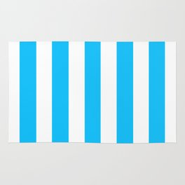 Spiro Disco Ball blue - solid color - white vertical lines pattern Rug