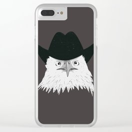 Eagle Cowboy Hipster Clear iPhone Case