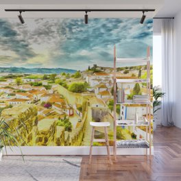 Obidos, small and authentic fortified town in Portugal Wall Mural