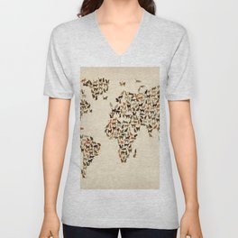 Cats Map of the World Map Unisex V-Neck