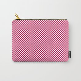 Bright Pink Peacock and White Mini Check 2018 Color Trends Carry-All Pouch