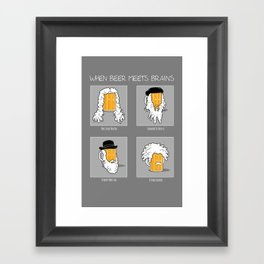 Beer Meets Brains Framed Art Print