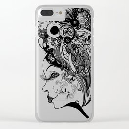 Zentangled Up in Black Clear iPhone Case