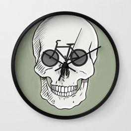 Skullbikery digital art by British artist Peter Gander Wall Clock