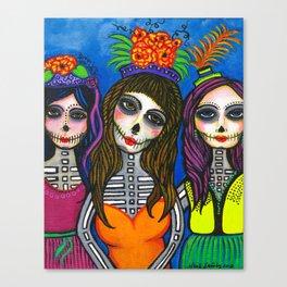 Las Tres Catrinas Canvas Print