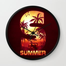 S for Summer Wall Clock