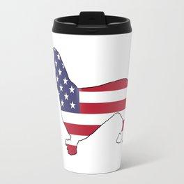 "Dachshund ""American Flag"" Travel Mug"