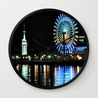 kobe Wall Clocks featuring Kobe Neon Haze by Dora