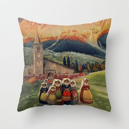 Abruzzo Italian travel back from church Throw Pillow