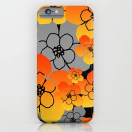 Orange big Blossoms grey background Flowers iPhone Case