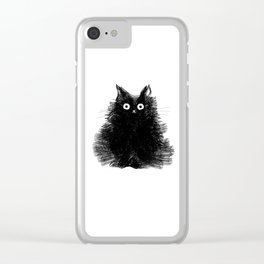 Duster - Black Cat Drawing Clear iPhone Case