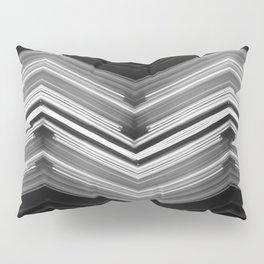Geometric Wave - White on Black Minimalist Geometric Art Pillow Sham
