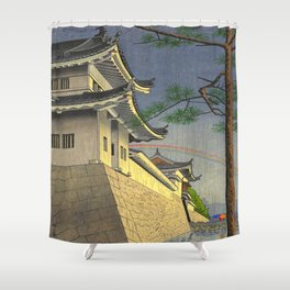 Asano Takeji Japanese Woodblock Print Vintage Mid Century Art Medieval Castle Rainbow Shower Curtain