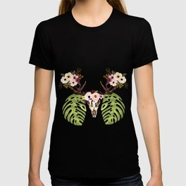 Exotic Tropical Floral Leaves Skull Antlers T-shirt