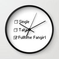 fangirl Wall Clocks featuring fulltime fangirl by Sara Eshak