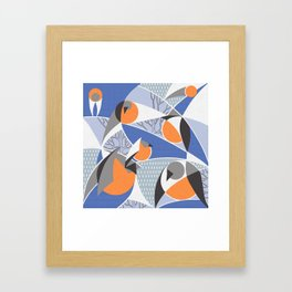 Birds bullfinches in blue, grey and orange colors Framed Art Print