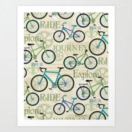 Bicycle Journey Blue Art Print