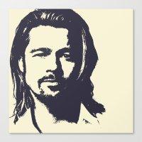 brad pitt Canvas Prints featuring Brad Pitt by Dora Birgis