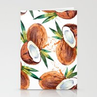 coconut wishes Stationery Cards featuring Coconut by Vale Bocchi