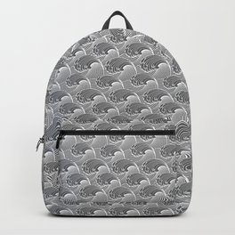 Vintage Japanese Waves, Gray / Grey and White Backpack