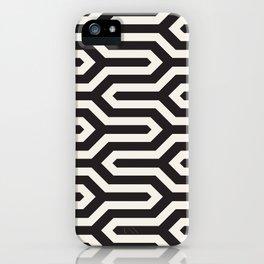 Black & White Geometric Pattern 70s Funky Style Glamorous Art Deco Pattern iPhone Case
