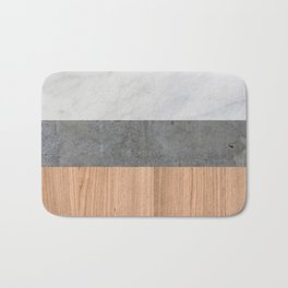Carrara Marble, Concrete, and Teak Wood Abstract Bath Mat