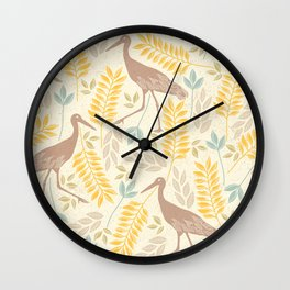 Seamless Pattern With Nature and Long-legged Birds Wall Clock