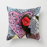 hamsa Throw Pillows featuring hamsa by oxana zaika