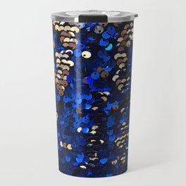 Gold and Blue Glitter Pattern Travel Mug