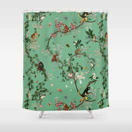 Monkey World Green Shower Curtain