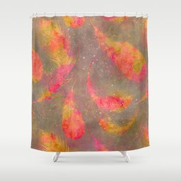 Feather pink and orange Shower Curtain