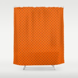 Bright Halloween Orange & Black Polka Dot Pattern Shower Curtain