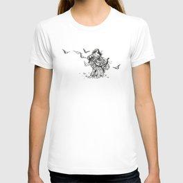 """""""Songs From Shakespeare"""" Shakespearean Woman Feeding Doves T-shirt"""