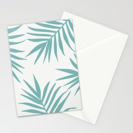 Delicate Green Tropical Leaves Pattern Stationery Cards